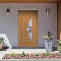 portoncino d'ingresso alluminio Modern4 arancione L 90 x H 210 sx