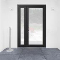 portoncino d'ingresso alluminio Condo8 nero L 132 x H 210 dx