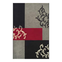 Tappeto Opera patch nero, rosso, grigio 150 x 220 cm