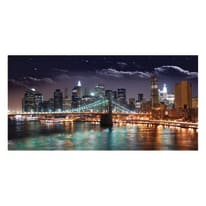 quadro su tela Ny by night 80x180
