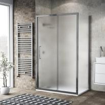 Doccia con porta scorrevole e lato fisso Record 102 - 106 x 77 - 79 cm, H 195 cm vetro temperato 6 mm satinato/silver lucido