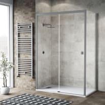 Doccia con porta scorrevole e lato fisso Neo 147 - 151 x 77 - 79 cm, H 200 cm vetro temperato 6 mm trasparente/silver