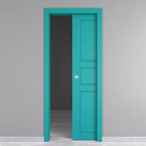 Porta da interno scorrevole New York azzurro 60 x H 210 cm reversibile