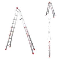 Scala telescopica alluminio Faraone 6+6 gradini, per lavori fino a 6,7 m