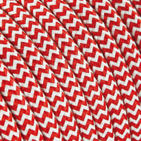 Cavo tessile bianco/rosso