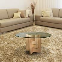 Tavolino Multis legno e vetro Ø 45 x H 44 cm