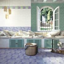 Piastrella Patine 15 x 15 cm azzurro