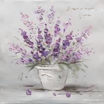 quadro dipinto a mano Vaso fiori viola 30x30