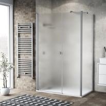 Doccia con porta battente lato fisso in linea e lato fisso Neo 73 - 75 + 40 cm x 77 - 79 cm, H 200 cm vetro temperato 6 mm silver