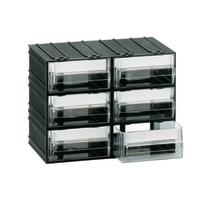 Cassettiera porta minuterie con 6 cassetti, colore nero/trasparente