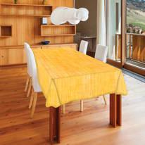 Tovaglia plastificata Finto tessuto giallo 160 x 140 cm