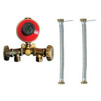 Centralina 2 attacchi con flessibili e regolatore bassa pressione con portagomma 4 Kg/H 0,02 bar Flessibile da 50cm