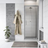 Porta doccia battente Quad 87.5-89, H 190 cm cristallo 6 mm trasparente/silver