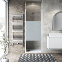 Porta doccia battente Neo 67-71, H 201,7 cm vetro temperato 6 mm serigrafato/bianco opaco