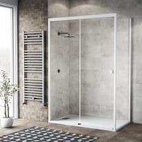 Doccia con porta scorrevole e lato fisso Neo 152 - 156 x 77 - 79 cm, H 200 cm vetro temperato 6 mm trasparente/bianco opaco