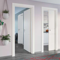 Porta da interno battente Two Lines bianco 80 x H 210 cm dx