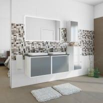 Mobile bagno Loto bianco con frontale in vetro L 120 cm