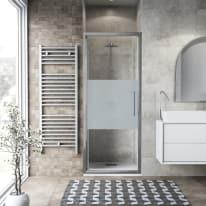 Porta doccia battente Record 77-81, H 195 cm vetro temperato 6 mm serigrafato/silver lucido