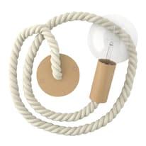 Pendel per lampadario componibile Cordone nautico E27 (grande) avorio in acciaio rivestito in tessuto