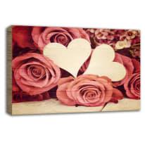 Quadro in legno Heart and rose 35x50