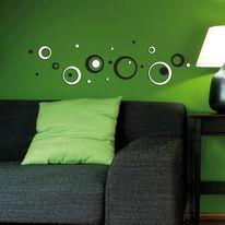 Wallsticker 3D Foam S Black & white circles