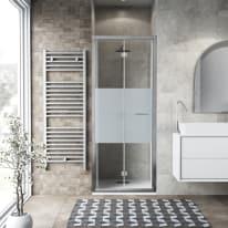 Porta doccia Record 92-96, H 195 cm vetro temperato 6 mm serigrafato/silver lucido