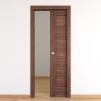 Porta per bed & breakfast scorrevole Coventry noce 90 x H 210 cm reversibile