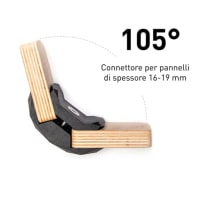 4 connettori Playwood 105° per pannelli in legno in plastica hi-tech nero