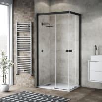 Box doccia scorrevole Neo 77-79 x 117-119, H 200 cm vetro temperato 6 mm trasparente/nero