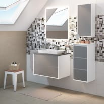 Mobile bagno Loto bianco con frontale in vetro L 75 cm