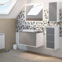 Mobile bagno Loto bianco con frontale in vetro L 90 cm