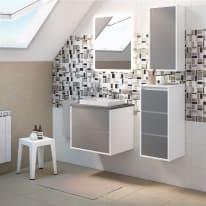 Mobile bagno Loto bianco con frontale in vetro L 60 cm