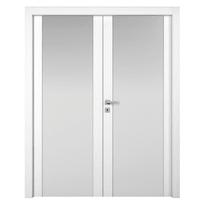 Porta da interno battente Plaza 2 Ante Frassino Bianco 140 x H 210 cm sx