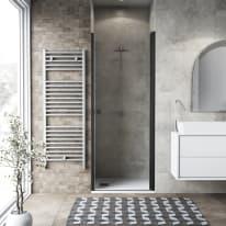 Porta doccia battente Neo 87-91, H 201,7 cm vetro temperato 6 mm trasparente/nero