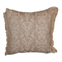 Cuscino grande Jade marrone frange ecru 60 x 60 cm