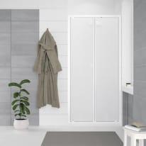 Porta doccia battente Oceania 78-84, H 195 cm vetro temperato 5 mm stampato/bianco lucido