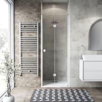 Porta doccia Neo 72-76, H 201,7 cm vetro temperato 6 mm trasparente/bianco opaco