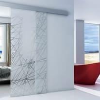 Porta da interno scorrevole Armonia Satinato neutro serigrafato 86 x H 215 cm reversibile
