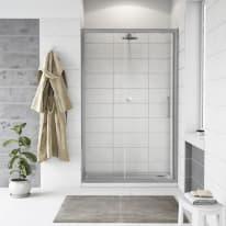 Porta doccia scorrevole Quad 117.5-120,5, H 190 cm cristallo 6 mm trasparente/silver