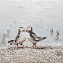 quadro dipinto a mano Gabbianella 30x30