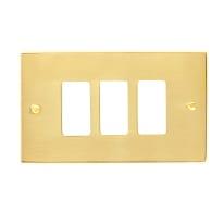 Placca 3 moduli CAL Magic ottone lucido