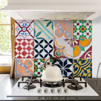 Kitchen Panel Colourful Tiles
