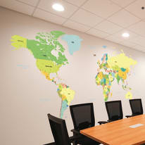 Wall Sticker Giant Colored map