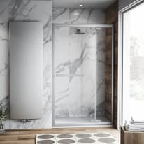 Porta doccia battente Namara 115-120, H 195 cm cristallo 8 mm trasparente/silver
