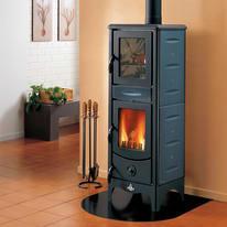 Stufa a legna con forno Milena blu