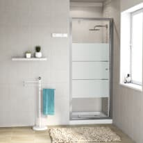Porta doccia battente Dado 87-90, H 185 cm cristallo 5 mm serigrafato/silver