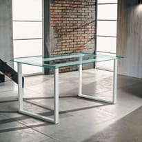 Tavolo Synergo metallo e vetro L 140 x P 75 x H 75 cm trasparente