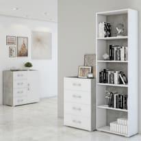 Libreria 4 ripiani bianco L 60 x P 30 x H 195 cm