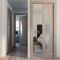 Porta da interno battente Halfmoon paglia 80 x H 210 cm dx