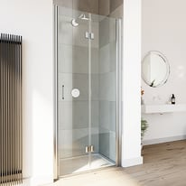 Porta doccia Cara 85-90, H 195 cm vetro stratificato 8 mm trasparente/silver